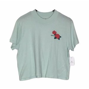 Volcom Crop Tee with Flower Roses